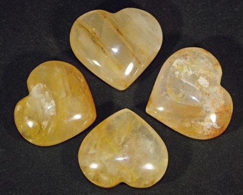 Golden Healer Quartz Hearts