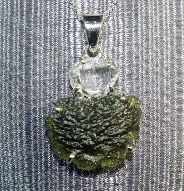 Half Moon Moldavite and Herkimer Diamond Pendant