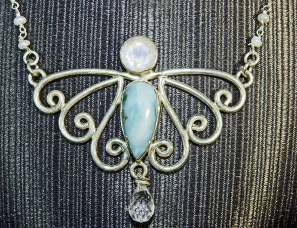 Larimer, Fire Opal and Quartz Butterfly Pendant