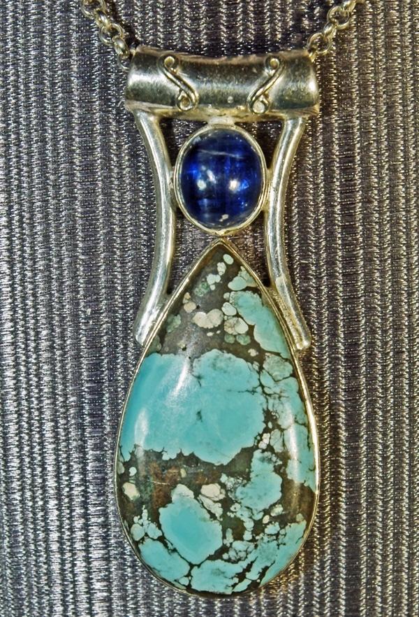 Tibetan Turquoise and Kyanite Pendant