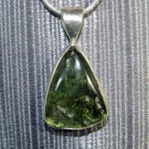 Triangular shaped Moldavite Pendant