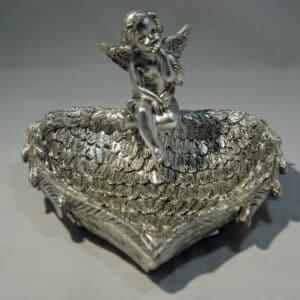 Silver Cherub Angel Wing Dish