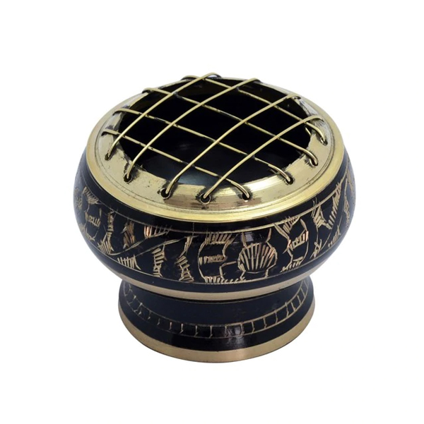 Small Black Brass Bowl for Incense