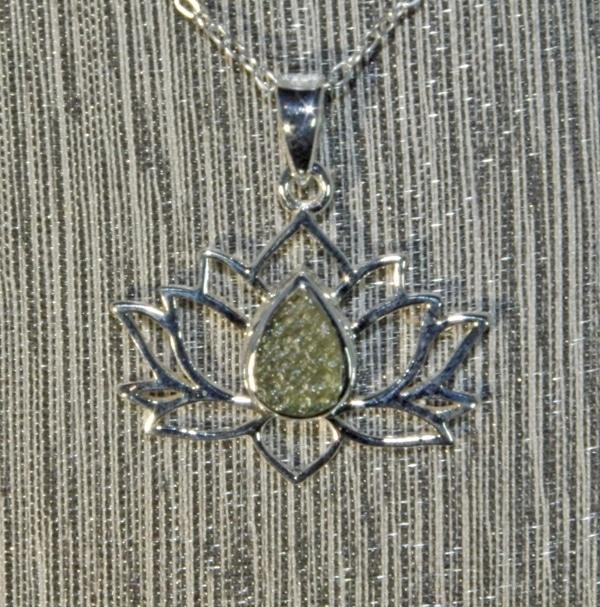 Moldavite Silver Lotus Flower Pendant