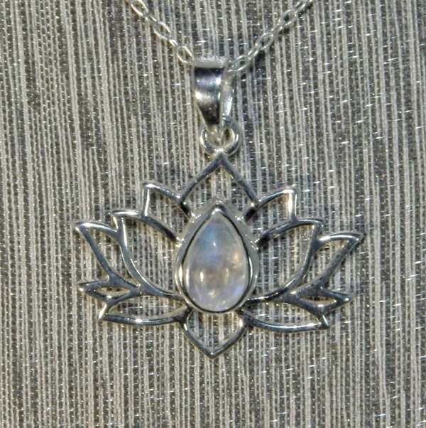 Moonstone Silver Lotus Flower Pendant