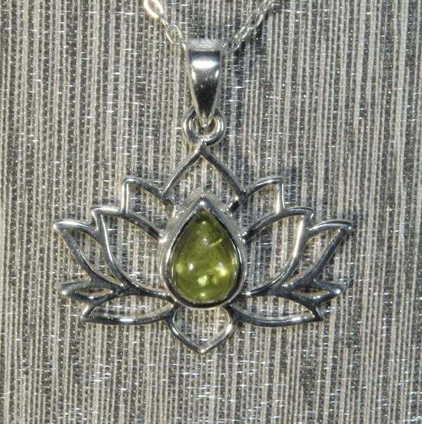 Peridot Silver Lotus Flower Pendant