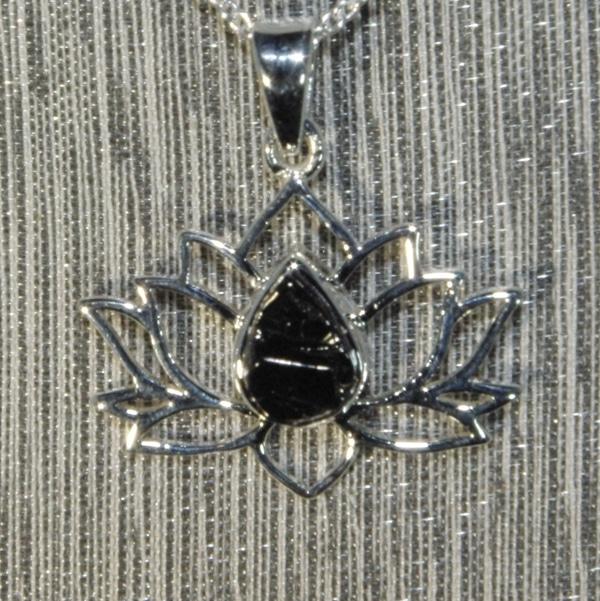 Shungite Silver Lotus Flower Pendant