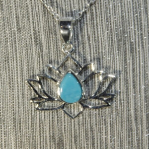 Sleeping Beauty Turquoise Silver Lotus Flower Pendant