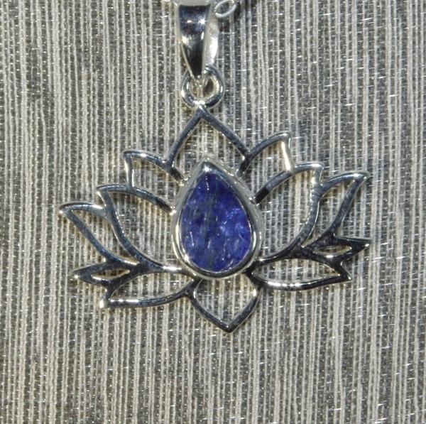 Tanzanite Silver Lotus Flower Pendant