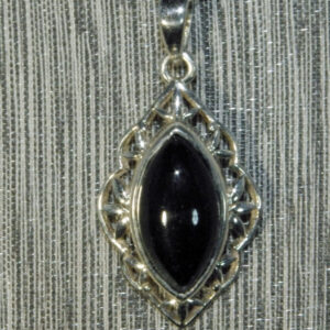 Black Obsidian Filigree Pendant