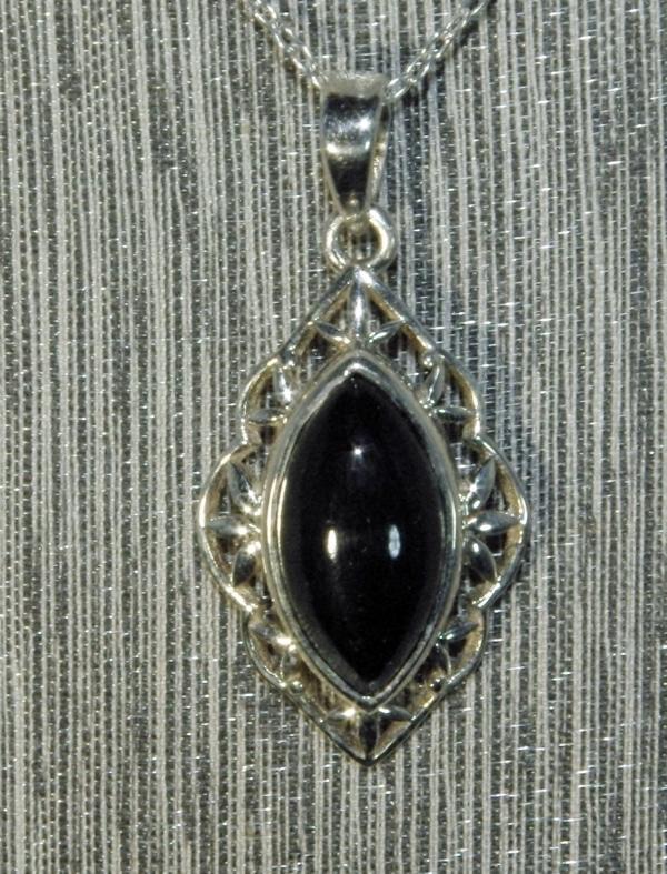 Black Obsidian Filigree Pendant