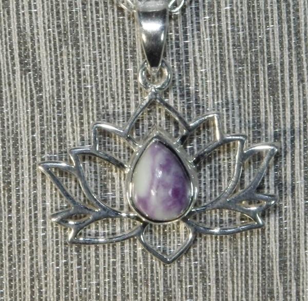 Tiffany Stone Silver Lotus Flower