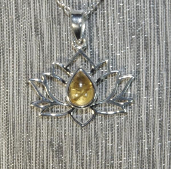 Citrine Silver Lotus Flower Pendant