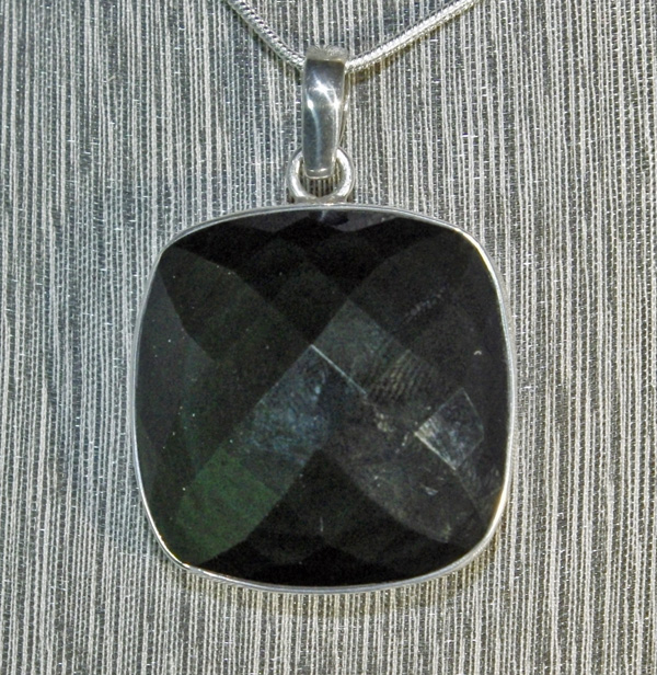 Black Obsidian faceted square pendant