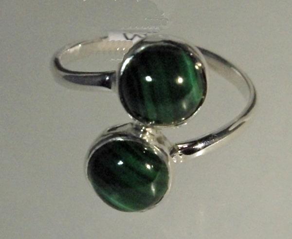 Malachite double drop ring