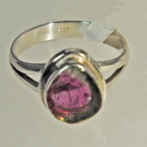 Watermelon Tourmaline Teardrop Ring